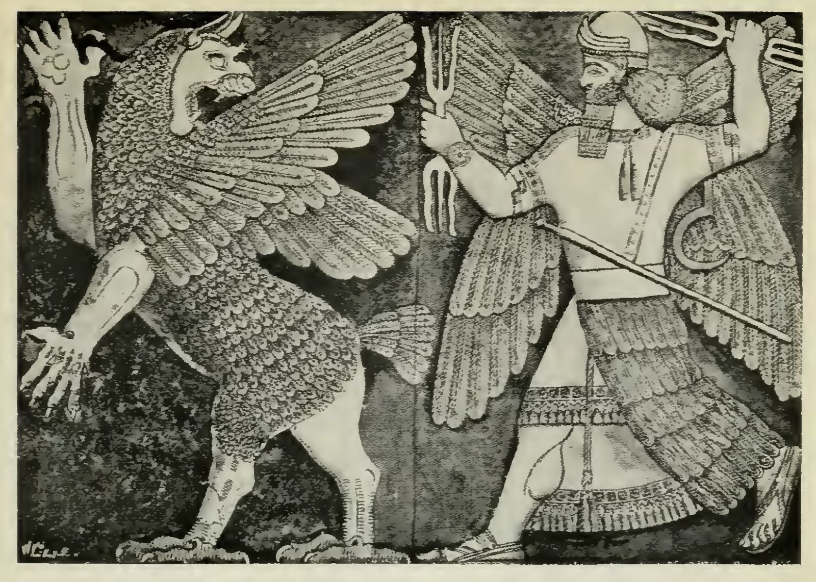 Fig. 1. Conflict of Marduk with the Monster Tiamat