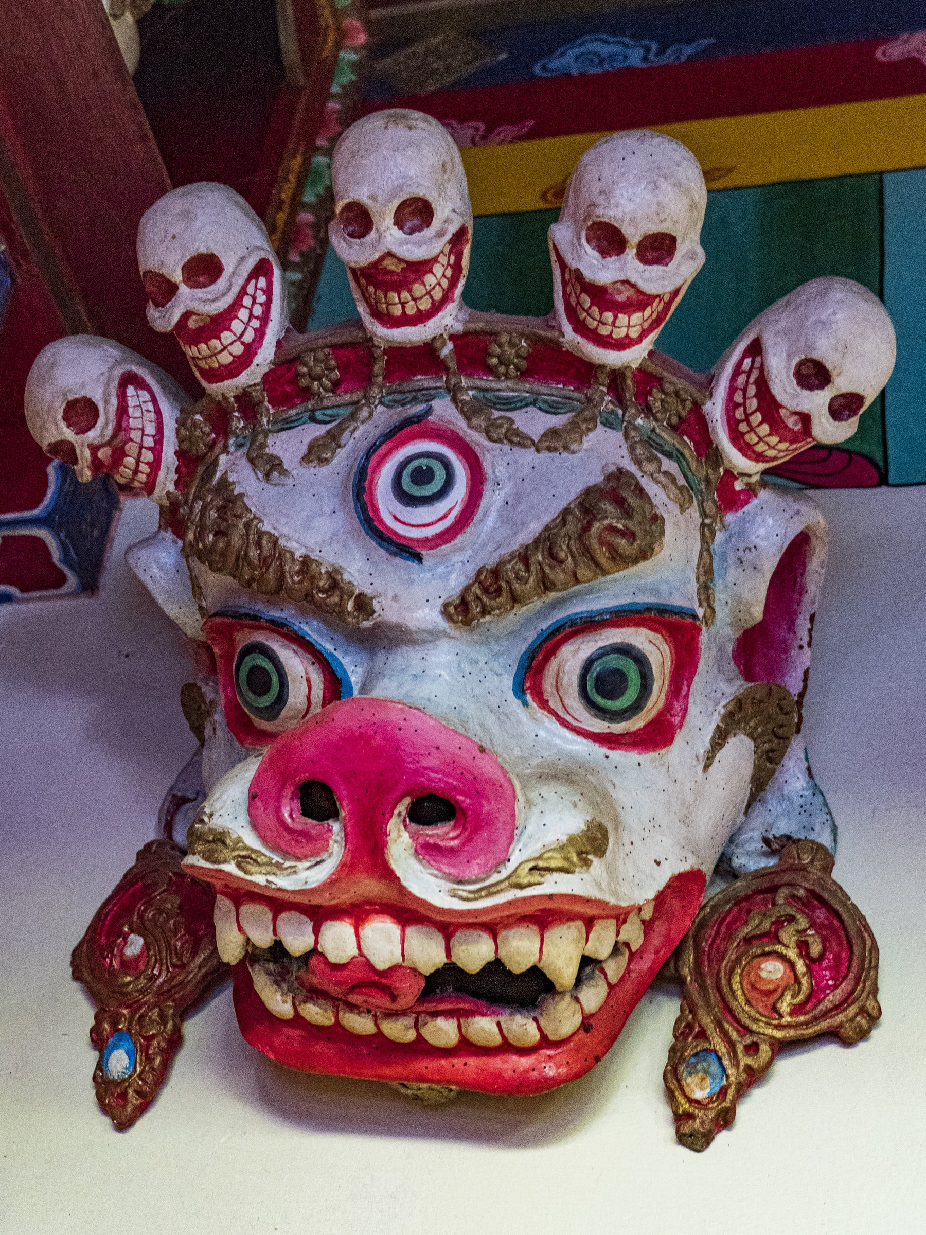 Mask with skulls and third eye